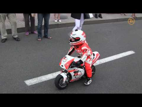 3-year-old motorcyclist Tima Kuleshov rides on a motorcycle