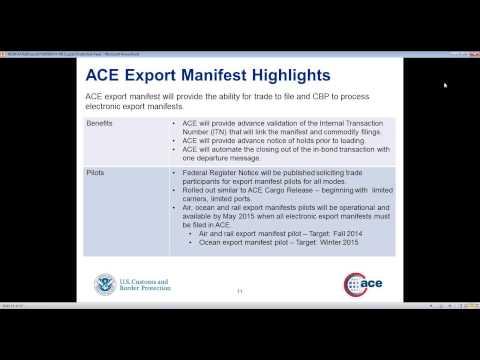 NEI Webinar | June 5, 2014 - Exports In ACE