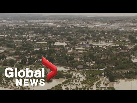 Aerial video shows extent of flooding in Spain