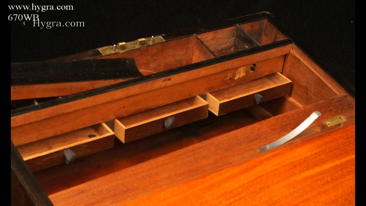 Hidden Drawer Lock Antique Brass Edged Writing Box With Bramah Lock And Secret