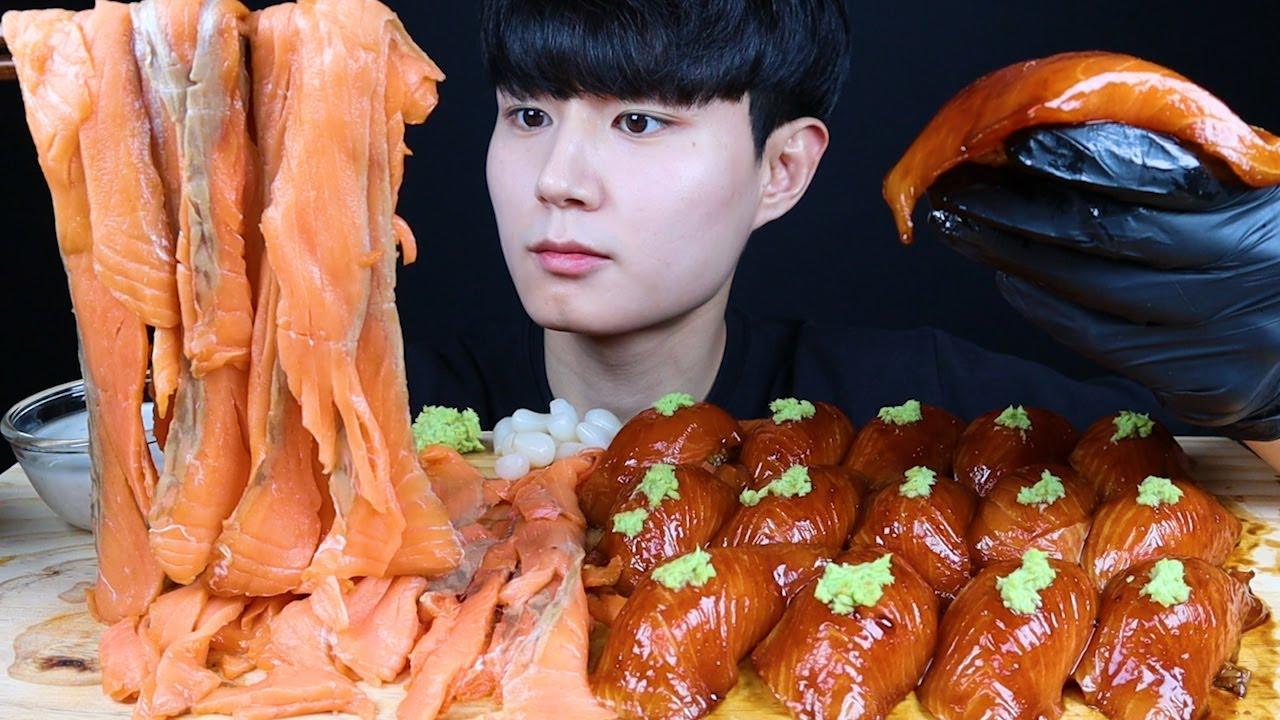 연어국수+대왕연어초밥 먹방ASMR Salmon Noodles&Salmon Sushi mukbang サーモンヌードルサーモン寿司 ซูชิปลาแซลมอน eating sound