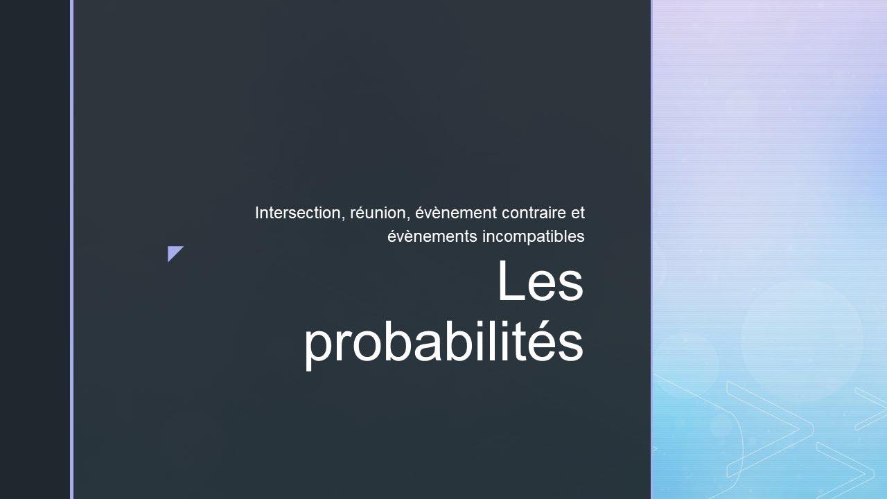 Les probabilités cours niveau Terminale bac pro - YouTube