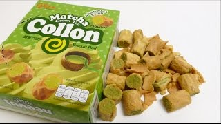 Glico Collon Matcha Green Tea Cream Biscuit Rolls