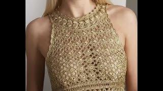 Вязание крючком. Золотое платье Евы