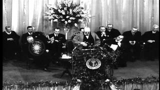 "Winston Churchill's ""Iron Curtain speech"" regarding USSR and Eastern Bloc, at Wes...HD Stock Footage"