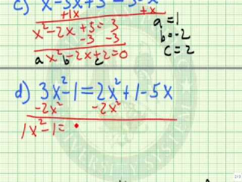 Write A Quadratic Equation In Standard Form Youtube