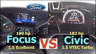 Acceleration Battle | Ford Focus 1.5 EcoBoost vs Honda Civic 1.5 VTEC Turbo |  132 vs 134 kW