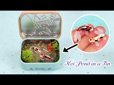 How to make a mini KOI POND in a TIN/ Polymer Clay and Resin Tutorial