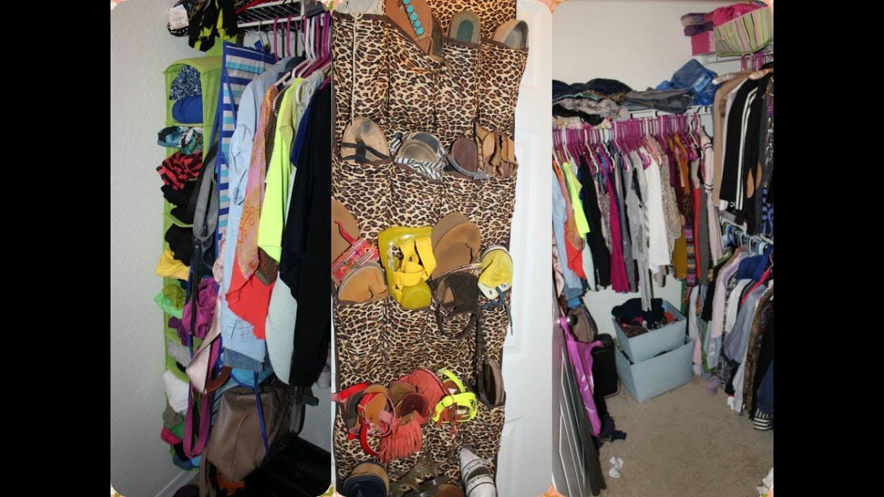 HOW I ORGANIZE MY SMALL APARTMENT CLOSET W/HANGING BAG,SHOE ...