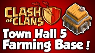 Clash Of Clans - Best Town Hall 5 Farming Base (th5) Speed Build 2015 - BEST TH5 Farming Base Layout