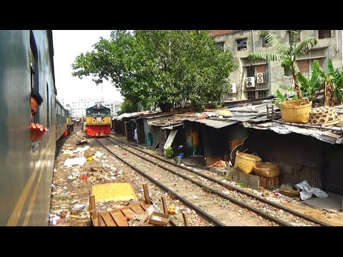 Two Bangladeshi Train Crossing At Most Dangerous Rail Track Near Tejgaon Railway Station