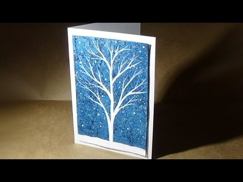 White Tree Acrylic Painting with Textured Background | Make Your Own Greeting Cards