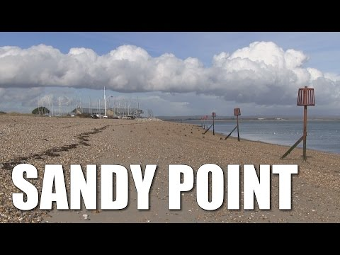 Sandy Point on Hayling Island, Chichester Harbour beach fishing mark, Hants, England, UK