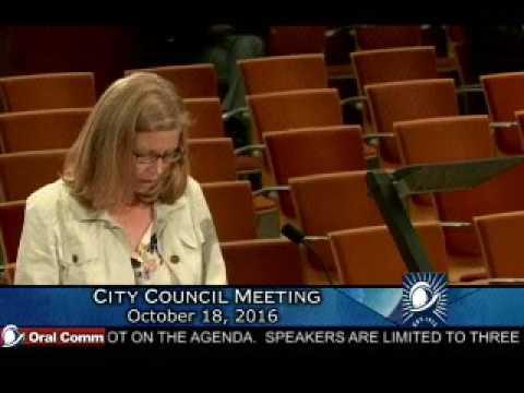 Conspiracy Nut Narcissist Lisa Warren, Cupertino City Council Meeting 10-18-16