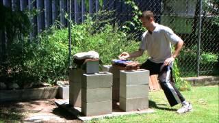 Tile breaking using internal iron palm training with chi qi ki