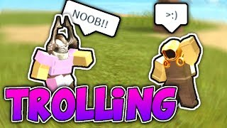 NOOB DISGUISE TROLLING WITH PINK ARMOR!! (Roblox Booga Booga)