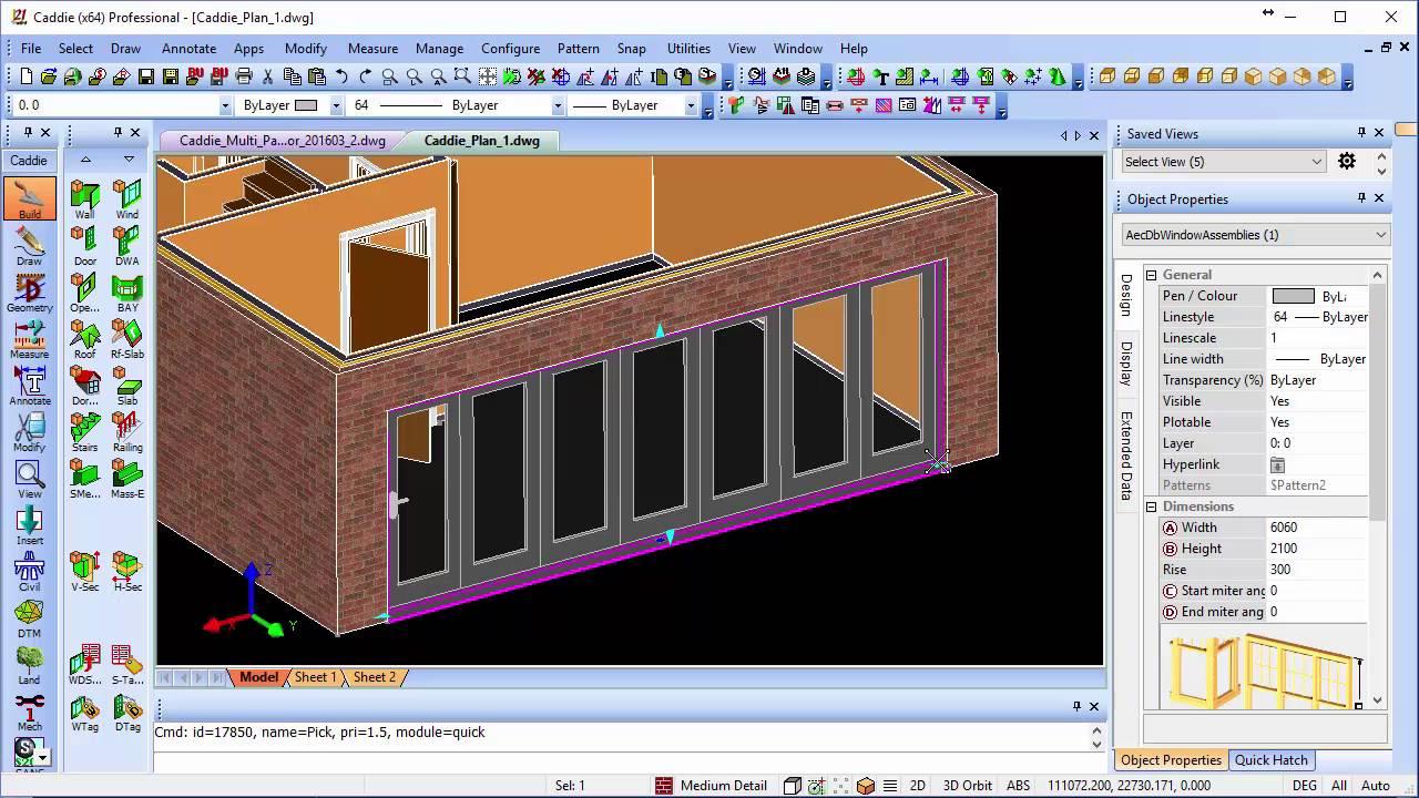 Multi-Panel \'Sliding Folding\' DWA Door in Caddie AEC .dwg software ...