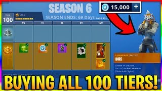 *NEW* UNLOCKING ALL 100 TIERS! SEASON 6 MAX BATTLE PASS UNLOCKED! (Fortnite Season 6 Skins & Pets)