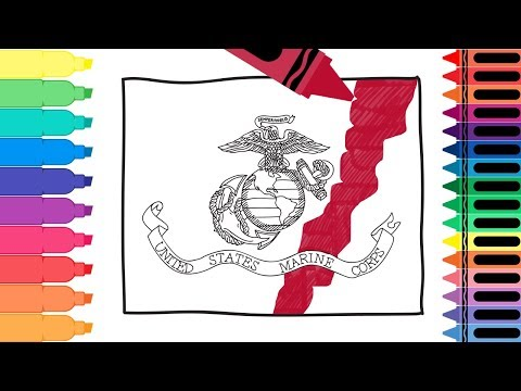 How to Draw US Marine Corps Flag- Coloring Pages for kids- Draw the US Marines Flag | Tanimated Toys