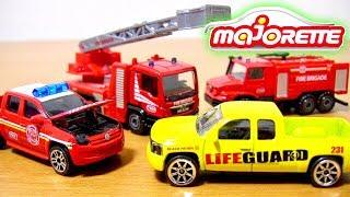 マジョレット はたらくくるま 消防車 マンTGS メルセデスベンツ ゼトロス フォルクスワーゲン アマロック シボレーシルバラード救命トラックおもちゃ 開封紹介⭐️