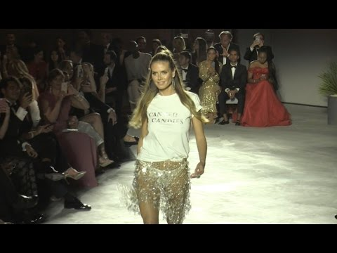Heidi Klum on the runway of Fashion for Relief Fashion Show in Cannes