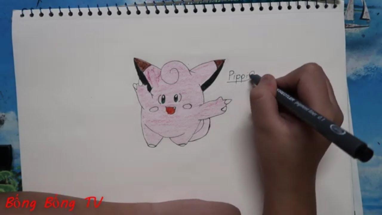 Bống Bống  TV.Cách vẽ và tô màu Pokemon Pippi đơn giản nhất