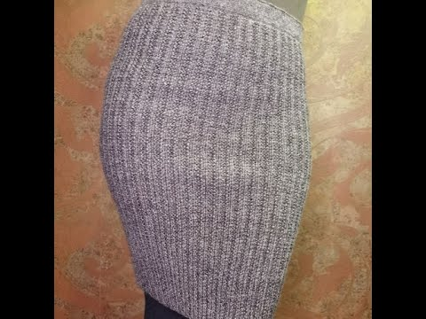 Вязаная юбка спицами резинкой