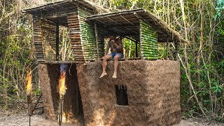 Primitive Technology: Building Beautiful Biggest House Villa Modern Style Out Of Mud,Grass
