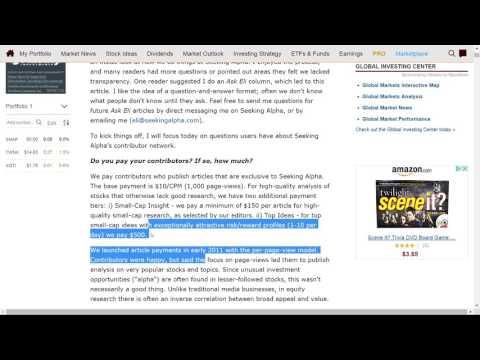 SeekingAlpha.com Clickbait Articles for revenue Biased, Referrals, Affiliate Program, AND Freelancer