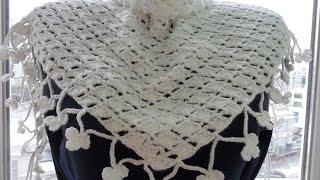 Белый бактус(шейный платок) крючком.White baktus (scarf) Crochet (Шаль #22)