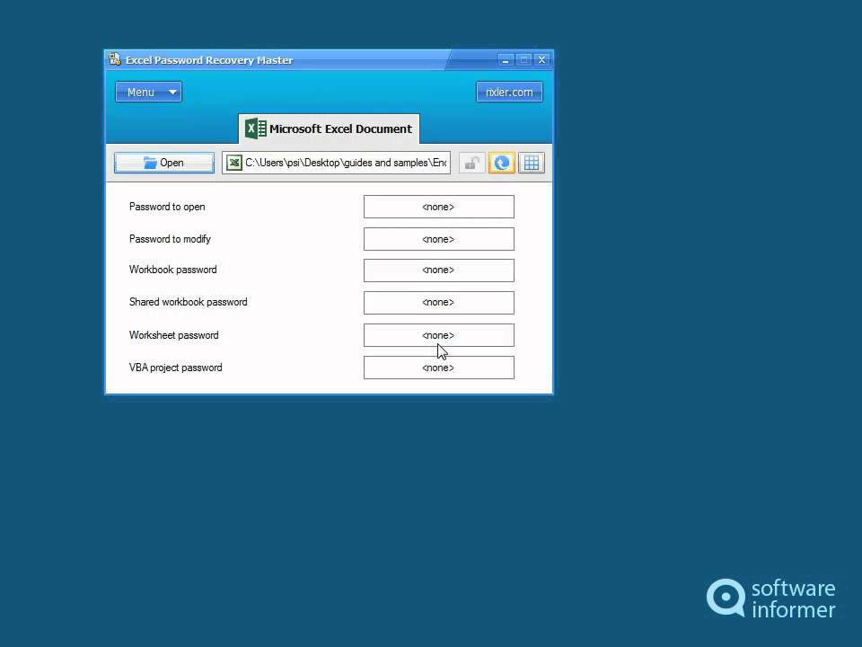 excel password recovery master 4.1 serial key