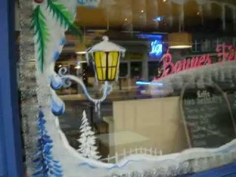 decoration de vitrine de noel nouvel an paysages de neiges peinture youtube. Black Bedroom Furniture Sets. Home Design Ideas