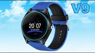 V9 Smartwatch black with blue