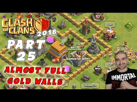 Clash of Clans Walkthrough: #25 - ALMOST FULL GOLD WALLS! - (Android Gameplay Let's Play)