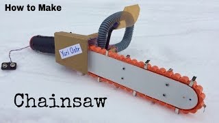 How to Make an Electric Chainsaw at Home - Amazing saw machine (Toy) - Tutorial