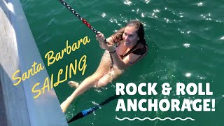 EP 22. THE ROLLIEST ANCHORAGE! Sailing Santa Barbara to San Francisco  | Two the Horizon Sailing