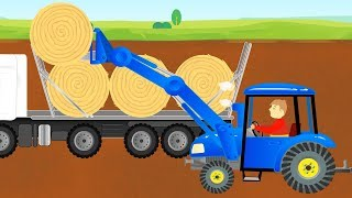 Bajki Traktory - Picking Up Straw Bales & Work on a field - Tractor Story | The toys are cool