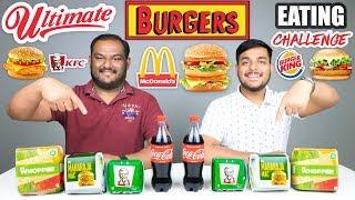 McDONALD'S, BURGER KING & KFC BURGER EATING CHALLENGE   Burger Eating Competition   Food Challenge