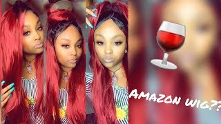 RED WINE 🍷LACE FRONT WIG FROM AMAZON!!   @MEEKFRO   HOMCASA WIG REVIEW