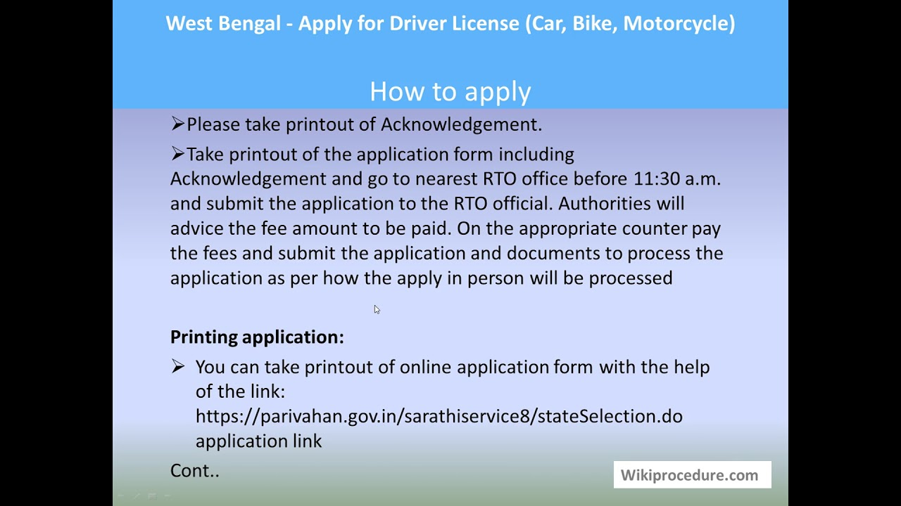West Bengal - Apply for Driver License (Car, Bike, Motorcycle)