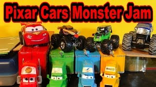 Pixar Cars Monster Jam in Radiator Springs with Lightning McQueen Grave Digger and Monster Mutt