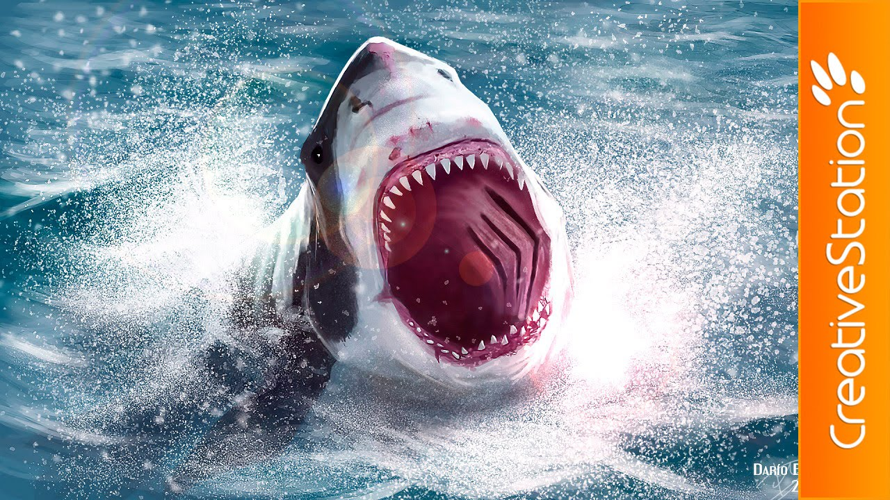 incredible white shark attack speed painting photoshop