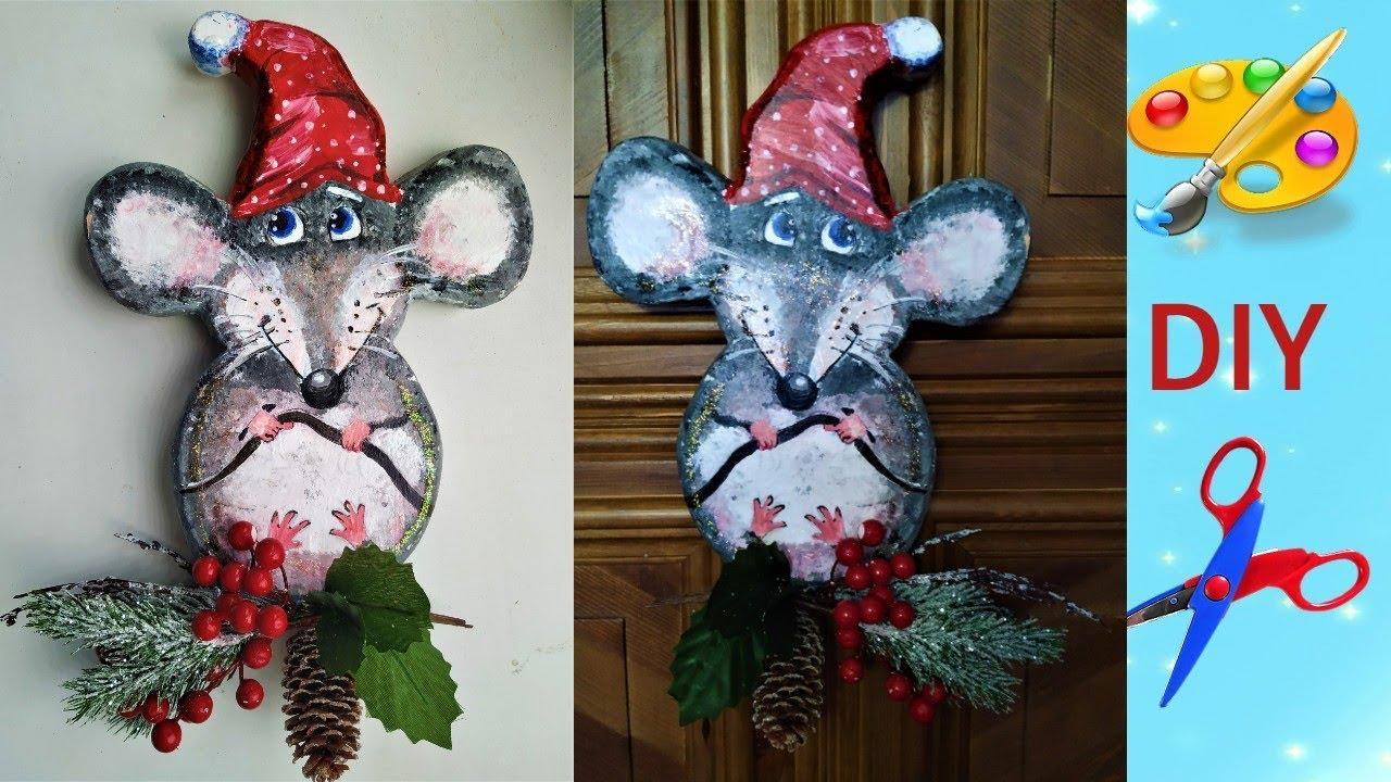 Новогоднее панно Крыса символ 2020 своими руками с объяснением