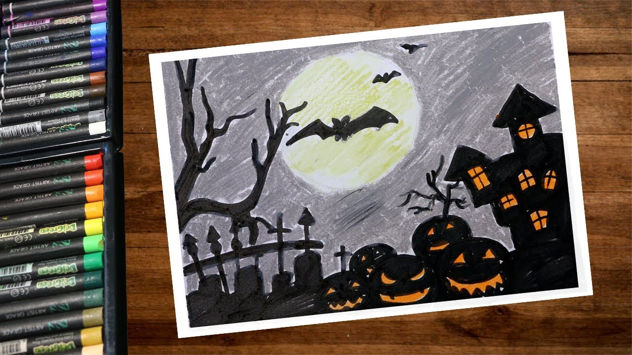 Landscape Halloween Night Horror Castle Drawing With Oil Pastel