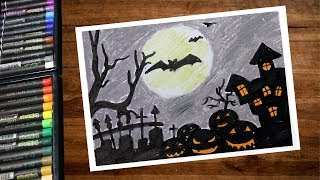 Landscape Halloween Night Horror Castle Drawing With Oil Pastel - Step By Step