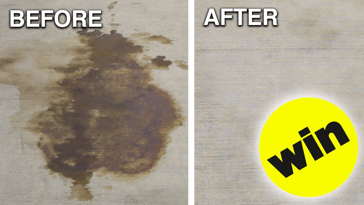 How to remove car oil from concrete youtube for Indoor concrete cleaner