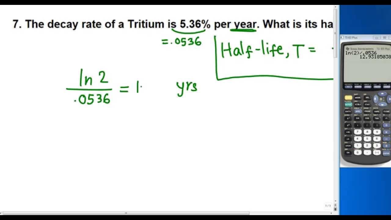 Half Life Of Tritium Youtube