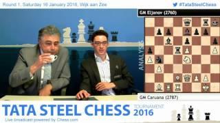 Caruana beats Eljanov at 1st rd, Post game Analysis - Tata Steel Chess 2016