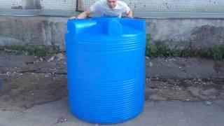 - 1000 л пластиковый бак для воды серия V - Полимер Групп(Бак пластиковый V-1000. Объем 1000 л. Высота: 1286 мм. Диаметр: 1050 мм. Вес: 25 кг. Изготовлен из пищевого пластика., 2016-09-28T11:39:35.000Z)
