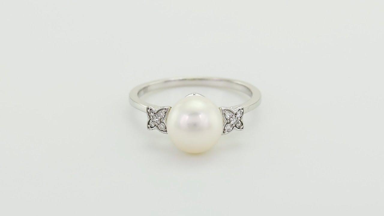 25a0598fb9d Zlatý perlový prsten s diamanty Zarina